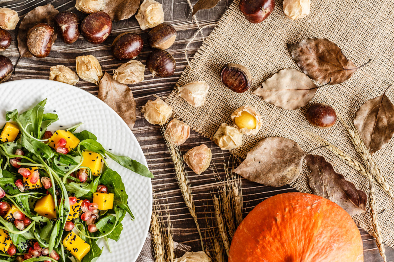 autumn salad, salad with pumpkin, chestnuts and avocado recipe